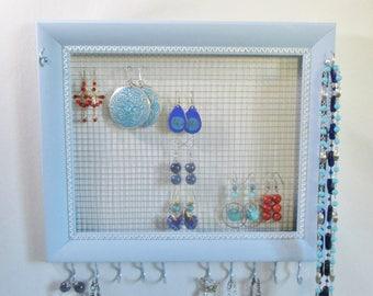 Jewelry Organizer -  Wooden Frame Jewelry Rack, Wall Jewelry Organizer - Earring Holder, Necklace Holder, Bracelet Holder Jewelry Display