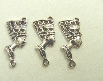 6 Antique Silver Egyptian Queen Nefertiti Double Hole Pendants, Links, Cadmium Free, Lead Free, Nickel Free, 42x18x3mm