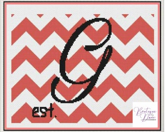 Monogram Chevron G Cross Stitch Pattern Personalized