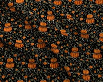 Vintage Pumpkin Fabric - Jack Vine Sitter By Johannaparkerdesign - Halloween Jack-o-Lantern Cotton Fabric By The Yard With Spoonflower