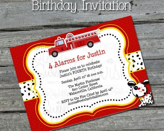 Fire Truck Birthday Invitation - Dalmatian - red fire trucks - Printable 5x7 Digital Invite
