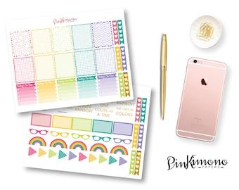 Cute Rainbow Weekly Planner Sticker Kit | Rainbow Planner Stickers | 114 Stickers