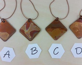 Necklace: Fire painted Copper Square; copper pendant necklace; gift for him, gift for her, copper anniversary