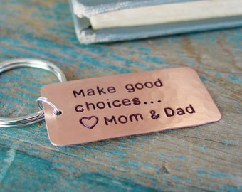 Make Good Choices,First Car Keychain,Personalized,Son Gift, Daughter Gift,Teen,College Graduation,Going Away,College Student Gift,Key Chain