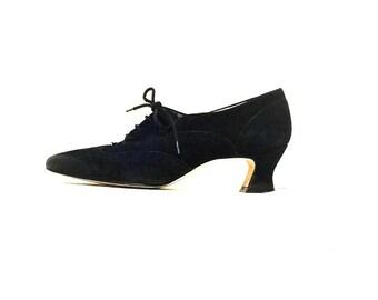 Vintage 1990s Nine West Oxford black leather Granny Louis Heel Shoes
