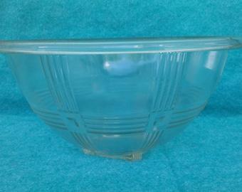 """Hazel Atals Glass Criss Cross Crystal 9 1/2"""" Mixing Bowl"""