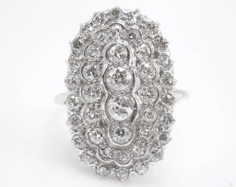 Large Art Deco Diamond Cluster Ring in Platinum