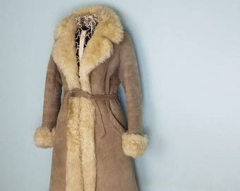 Leather and fur trench coat; boho; hippy; trending; 90s; penny lane; New lower price;