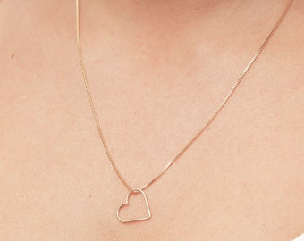 Gold Heart Necklace Sideways Heart Necklace Love Layering Necklace Everyday Delicate Gold Filled Jewelry.