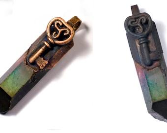 Pendant, key, rock crystal, steampunk, Gothic