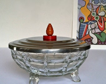 Vintage Pressed Glass Dish With Bakelite Finial