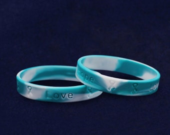 50 Teal & White Silicone Bracelets (50 Bracelets) (SILB-23)