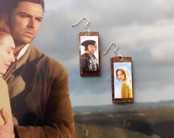 Ross Demelza Poldark Cornwall  resin copper gilded earrings