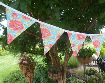 Cottage Chic, Beachy , Floral - Picnic, Party,  Playroom,  Bedroom Fabric Bunting Banner Flags - 9 Flags - 8.5  Feet