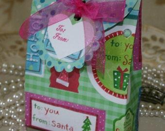 Christmas Santa Gift Bag Set - FREE Shipping Holiday, Winter or Christmas Party Gift Box Wrap, Matching Tag, by handmadewithlove13