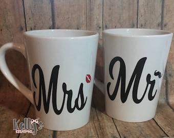 Coffee mugs-mr and mrs coffee mugs- wedding gifts-personalized wedding gift-coffee wedding mugs-Mr and Mrs coffee cups-wedding shower gift.