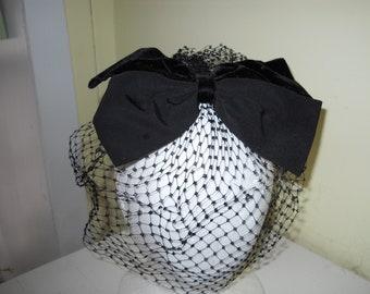 Vintage black fascinator with wide velvet bow