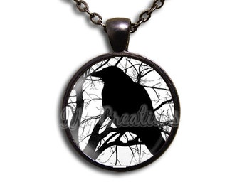 Crow Silhouette - Round Glass Dome Pendant or with Necklace by IMCreations