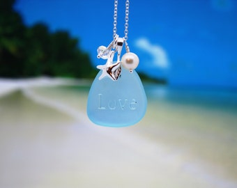 Sea Glass Jewelry Sea Glass Necklace Seaglass Necklace Blue Seaglass Jewelry Wedding Jewelry Bridal Jewelry Bridesmaid Jewelry Engraved 12