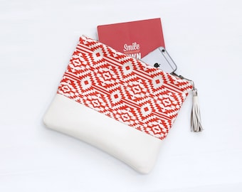 Leather Fold Over Clutch, Red and White Tribal Print, Evening Clutch, Folded Handbag