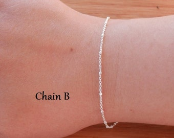 sterling silver bracelet dainty silver bracelet layering bracelet thin bracelet delicate silver bracelet chain bracelet satellite bracelet