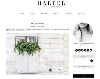 Blogger Template Premade Blog Theme Design Harper - Instant Digital Download, Simple, Black and White
