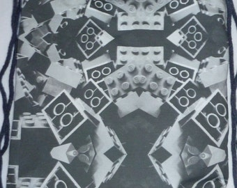 Block Backpack/tote Grey: Custom Print