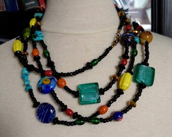 Long necklace multicolor beads