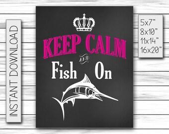 Keep Calm and Fish On, Fishing Lovers, Fishing Gift, Birthday Gift, Chalkboard Gift, Sports Gifts, Black Board, Fish Art, Fish, DIGITAL FILE