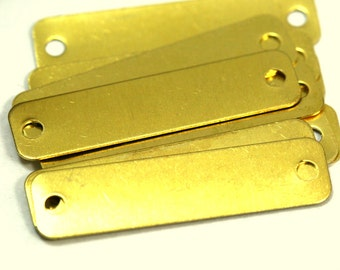 15 pcs Raw Brass 10x40mm 20 gauge 0.8mm thickness rectangle tag 2 hole connector Charms ,Findings 715R-39
