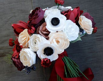 Paper Bridal or Bridesmaid Bouquet - Roses, Ranunculus, Mums, Gerbera Daisy, Leucadendron, Anemone - Red, Burgundy, White, Dusty Rose, Blush