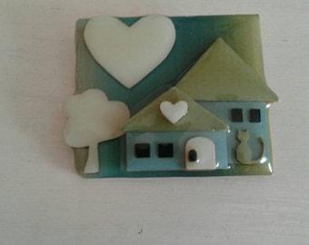 House pin....vintage.....rectangular...enamel/vinyl....blue/green