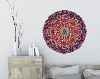 Mandala #14 Wall Decal, Yoga Wall Decal, Yoga Wall Art, Bohemian Decor, Giant Mandala Wall Decal, Flower Mandala