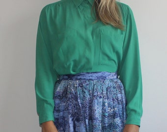 Vintage green blouse silk feel long sleeve