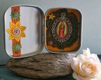Lady of Guadalupe - great altar bottles / yellow / orange / green / Sun in the heart