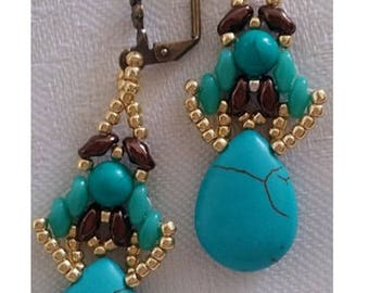 Turquoise Dangling Earrings, Teardrop Briolette, Long Earrings, Fashion Earrings, Beaded Earrings
