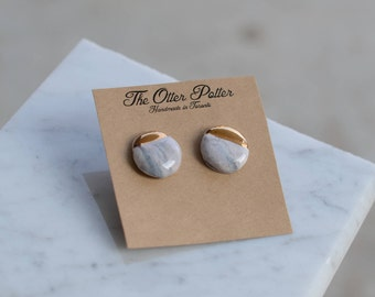 Mauve Marble and gold dipped Stud Earrings