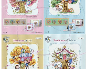 Tree House Four Seasons - Counted Cross stitch Patterns