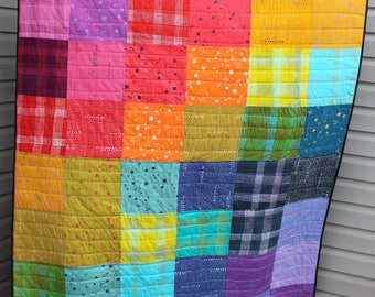 Modern Rainbow Quilt, Patchwork Quilt for Sale, handmade Rainbow Throw, Rainbow Lap Quilt, Text Quilt Backing, Alison Glass Quilt, Chroma