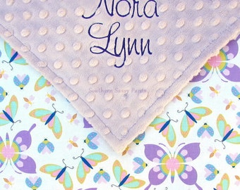 Personalized Baby Girl Blanket - Minky and Butterflies - Dragonfly, Ladybug, Butterfly Cotton, Baby Shower Gift - Lavender, Lilac, Purple