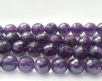 """1-16"""" Strand Beautiful Amethyst Large Faceted 8mm Rounds (48 beads)"""