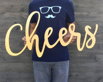 Cheers Sign, 35in x 17in, Large Cheers Sign, Sign Cheers, Large Bar Sign, Non-Personalized, Large Wood Bar Sign, No Customization