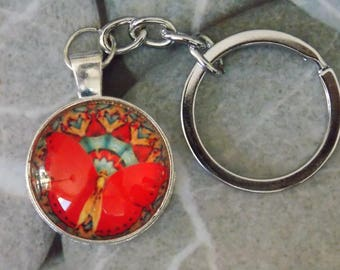 Keychain silver metal cap red fairy
