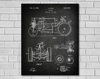 Farm Tractor Decor - Tractor Patent Art - Tractor Diagram - Tractor Blueprint - Farm Decor - Agriculture Art - Agriculture Decor - CA710