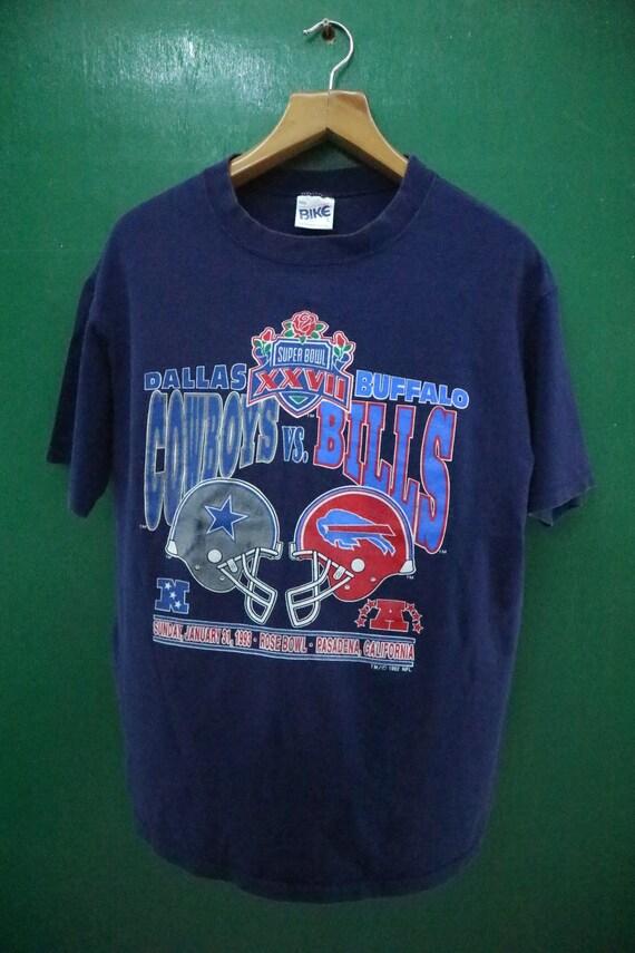 League Bowl Buffalo L Big Logo Shirt Super NFL Stitch 1992 Football Single Sportswear National Dallas Vintage Cowboys Size Bills NFL VS wxBfpttZq