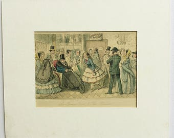 Antique Victorian print, Sir Thomas Trout and the Bloomers, Crinoline dresses, Top hats, Ladies in bonnets, John Leech, Surtees