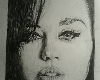 A4 print katy Perry graphite drawing. By joel walsh