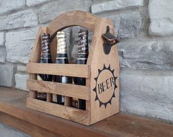 Bottle holder, 6 beers, wood, with bottle opener