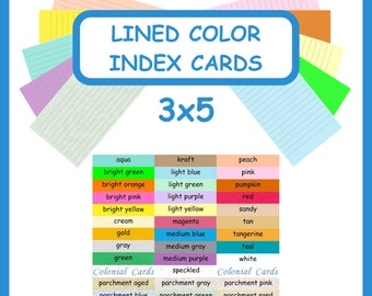 100 Color Index Cards 3x5 Ruled Lined Card Stock ~ Blank Cardstock with Lines