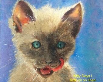 Siamese cat art, kitten days, 6x6 cat original oil painting